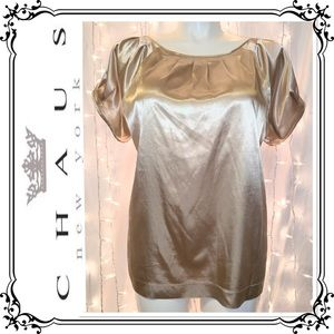 CHAUS * Luxurious Gold Dressy Satin Blouse * XL